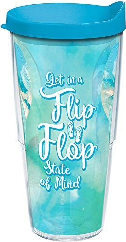 Tervis 1250223 Flip Flop State of Mind Tumbler with Wrap and Turquoise Lid 24oz, Clear