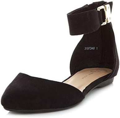 Womens Wide Fit Black Ankle Strap Flats
