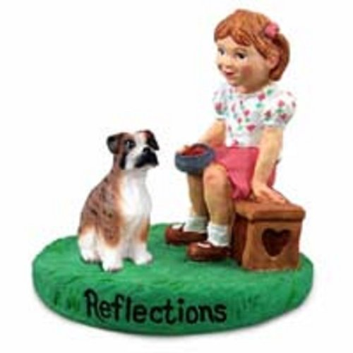 - Boxer Brindle w/Uncropped Ears Reflections w/Girl Figurine