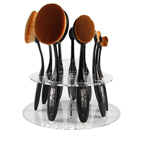 Gotd Oval Makeup Brush Holder Drying Rack Organizer Tool