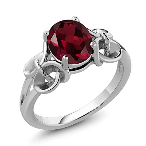 Gem Stone King 2.00 Ct Oval Red Rhodolite Garnet 925 Sterling Silver Ring (Size 9)