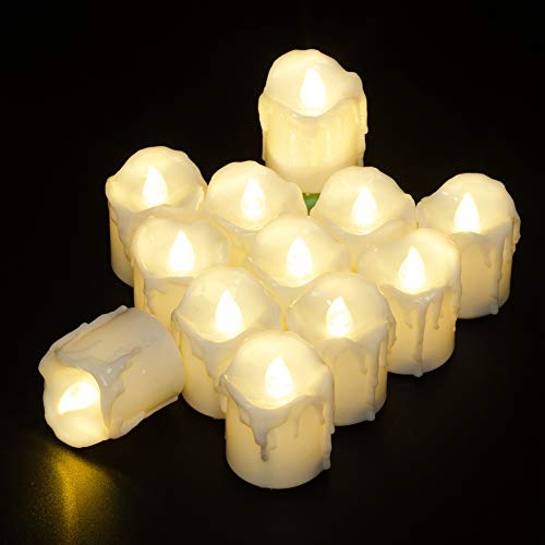 PChero 12pcs Battery Operated Warm White Timing LED Flameless Flickering Tea Lights Candles with Timer, 6Hours On Per 24Hours Cycle, Perfect for Birthday Wedding Home Decor - [1.7inch High Version] -