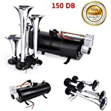 150DB Super Loud Train Horns kit for Trucks, 4 Air Horn Trumpet for Car Truck