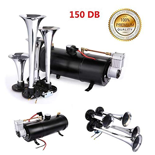 150DB Super Loud Train Horns kit for Trucks, 4 Air Horn Trumpet for Car Truck Train Van Boat, with 120 PSI 12V Compressor and Gauge (Black) ()