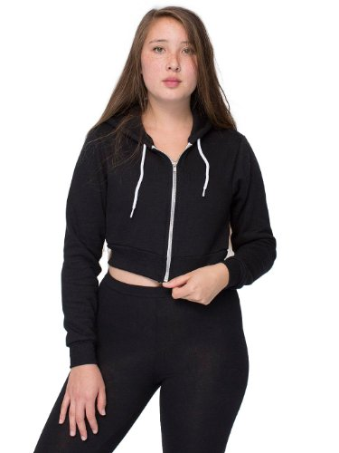 American Apparel Women's Cropped Flex Fleece Zip Hoodie Size S -