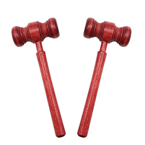 AQUEENLY Gavel Costume, 2PCS Wooden Judge Gavel Courtroom Prop for Meeting, Red
