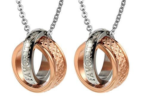 Daesar 2PCS Hers & Hers Matching Set Necklace Stainless Steel Ring