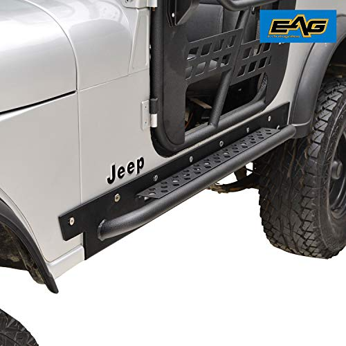 EAG Off Road Steel Rocker Guard with Step Running Boards for 76-86 Jeep Wrangler CJ7 ()