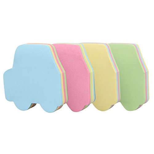 (GTHER Car Shaped Sticky Notes, Self Stick Notes Self-Adhesive Car Sticky Note Cute Notepads Posted Writing Pads Stickers Paper (4 Pads, Car))