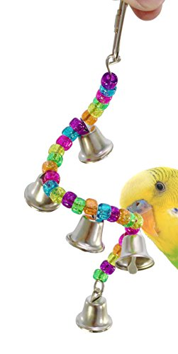 Bonka Bird Toys 890 Ring My Bell Toy Parrot Cage Craft Cages Cockatiel Budgie Lovebird Parrotlet Parakeet Finch Treats Budgies Crafts Parakeets Rings Aviary Perches (Bird Bell My Ring Toy)