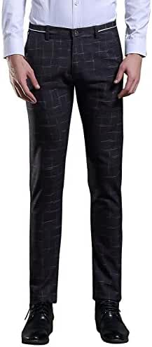 TALITARE Men's Plaid & Plain Slim Fit Tapered Suit Separate Pant
