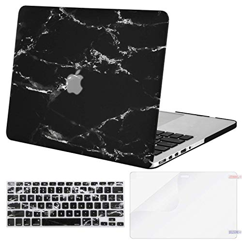 MOSISO Case Only Compatible Older Version MacBook Pro Retina 13 Inch (Model: A1502 & A1425)(Release 2015 - end 2012), Plastic Pattern Hard Shell&Keyboard Cover&Screen Protector, Black - Soft Case Pattern Plastic