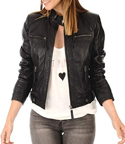 KYZER KRAFT Womens Leather Jacket Bomber Motorcycle Biker Real Lambskin Leather Jacket for Womens