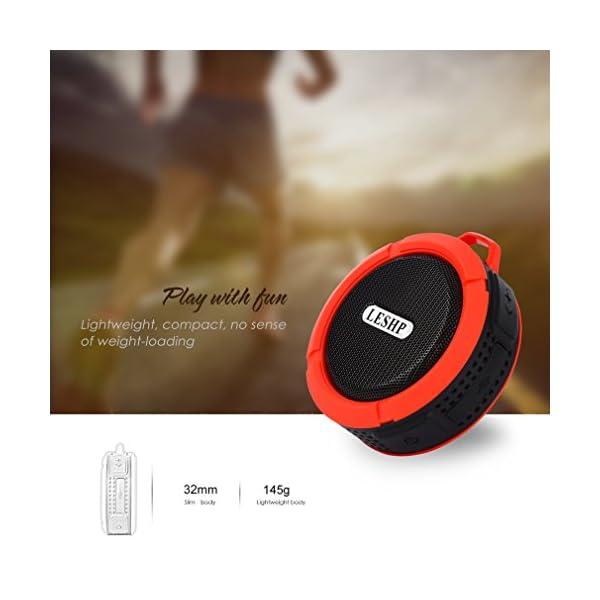 Haut-parleur Bluetooth leshp sans fil stéréo portable Musique Box (Basses puissantes, audio haute définition, IP66anti-éclaboussures, connexion USB pour portable à charges de plein air) 5