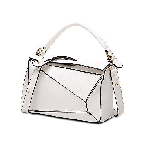 Olyphy Shoulder Bag for Women Geometric Top Handle Handbag Crossbody Bag Puzzle Bag (white)