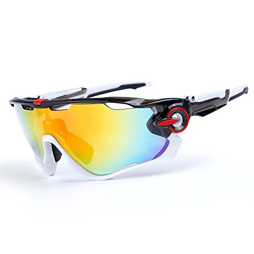 Cycling Sunglasses Polarized Mens Sport Glasses 4 Lens Cycling Glasses Bicycle Glasses (Black&White)