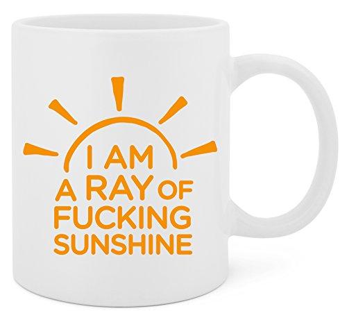 I'm A Ray Of Fucking Sunshine - 11 Oz White Ceramic Glossy Mug With Large C-handle (Microwave and Dishwasher Safe)