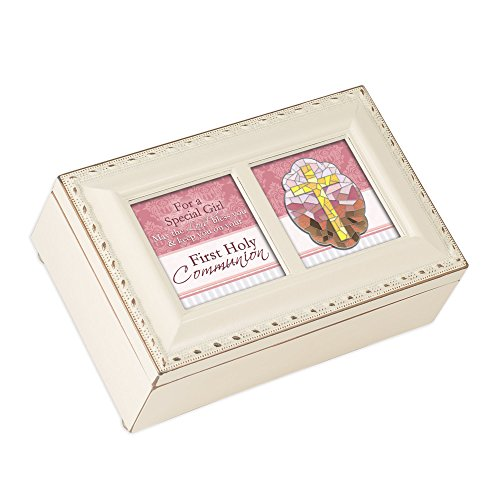 Cottage Garden First Communion Special Girl Lord Matte Ivory Jewelry Music Box Plays Ave Maria - Music Box Stained Glass