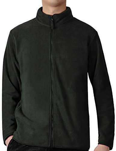 Fastorm Full-Zip Fleece Men Lightweight Fleece Solid Polar Thermal Fleece Jacket Sweater Surplus Green (Mens Microfleece Long Sleeve)
