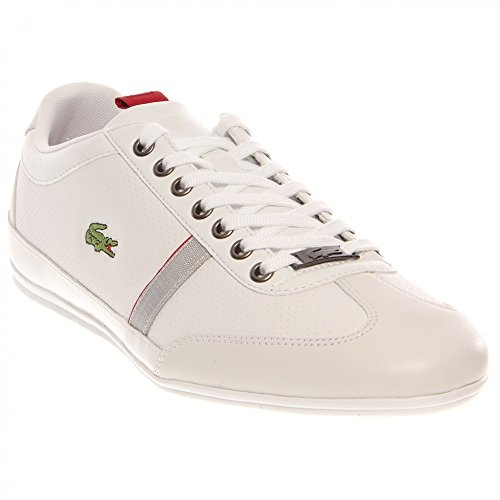 Lacoste Mens Misano LPP SPM Leather/Synthetic Sneakers (11, White/Red)