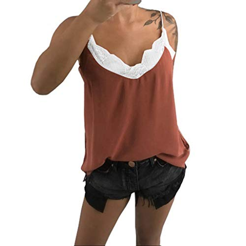 Vest Lace Ride - Lace Vest Sleeveless Tops for Women丨Summer Casual V-Neck Tank Top Blouse丨Womens Elegant Solid Loose Camisole(Orange,2XL)