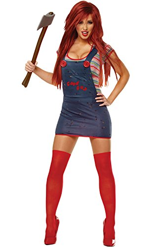 [Costume Culture Women's Licensed Sexy Chucky Costume, Blue, Large] (Lady Reaper Costumes)