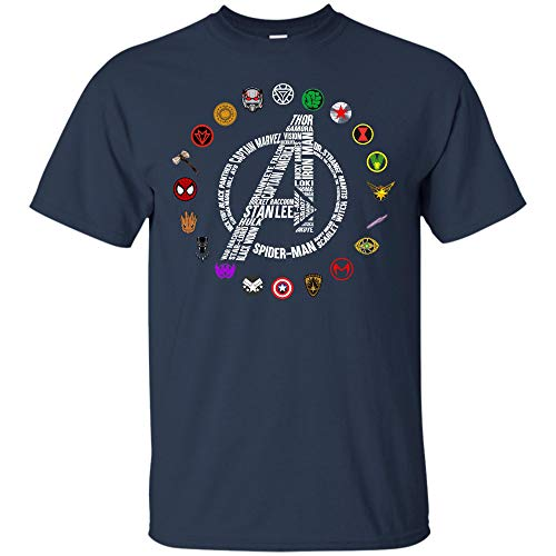 (Avengers End Game Shirt Stan Lee and Super Heroes's Symbol T Shirt for Men, Women (Unisex T-Shirt;Navy;L))
