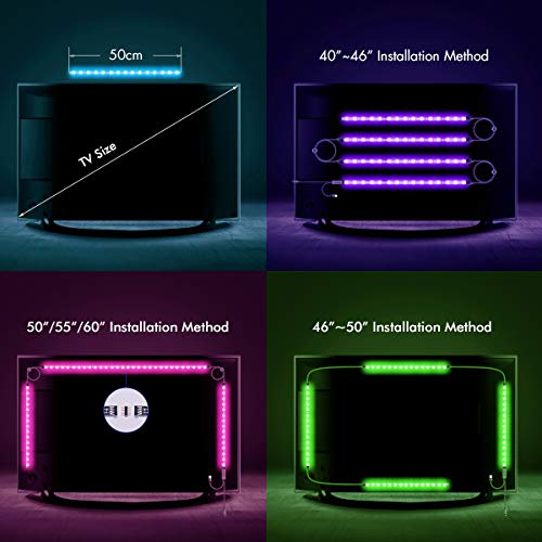 LED Strip Lights, Sunix 6.6ft RGB Bias Lighting for 40-60 inch HDTV,USB LED TV Backlight Kit with Remote - 20 Colors and 4 Dynamic Mode (4pcs x 50cm LED Strips) [Energy Class A+] by Sunix (Image #3)'