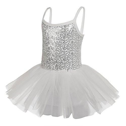 White Dance Costumes Dress (Arshiner Kids Girl Spaghetti Strap Sequined Patchwork Multi Layer Ruffle Ball Gown Dress, White, 120)