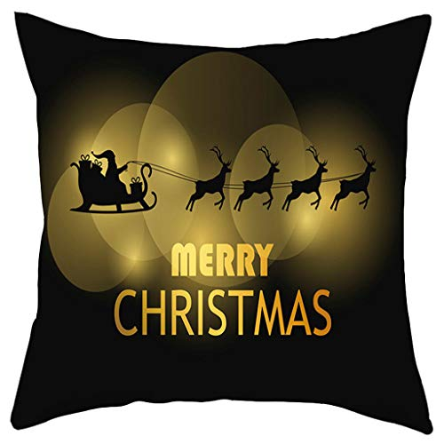 Dermanony Merry Christmas Home Decoration Pillow Case Fashion Short Plush Sofa Pad Set Couch Pillow Cases 18×18 Inch