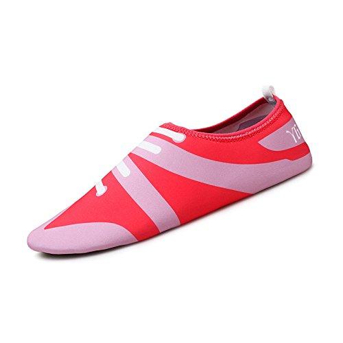 Skid natación light 3 Lucdespo calzado zapatos la esquí acuático rosa piel SK Ultra de transpirables de Anti cuidado roja playa zapatos PPAUxw