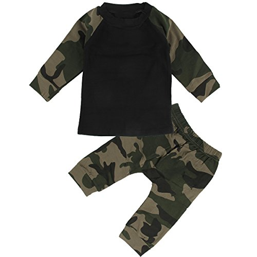Puseky Baby Boy Gril Camouflage T-shirt Tops+Pants Tracksuit Outfits Clothes Set (6-12 Months, Camouflage+Black)