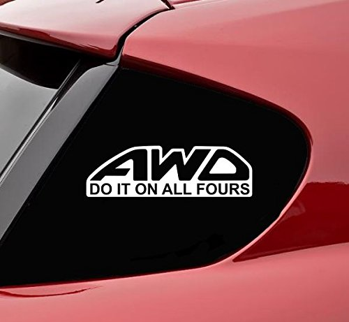 AWD all wheel drive do it on all fours funny vinyl decals bumper sticker