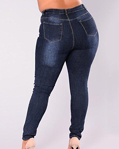 Jeans Azul Fit Vaqueros Pantalones Up Elástico Grande Cintura 1 Talla Alta Flacos Slim Mujer Push Ox4pXqX