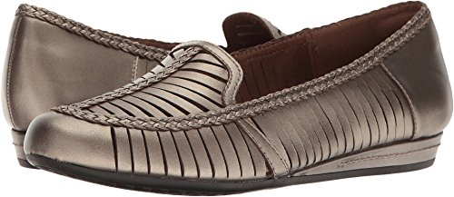 Rockport Cobb Hill Collection Women's Galway Woven Loafer Pewter Leather Shoe (Leather Pewter Woven)
