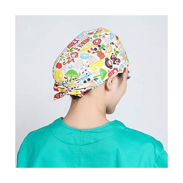 TENDYCOCO 1 Unid Algodón Mono Búho Correa Impresa Sombrero de Trabajo Quirófano Gorro Médico Gorro de Enfermera Sombrero… 14