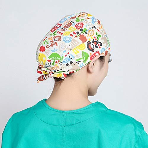 TENDYCOCO 1 Unid Algodón Mono Búho Correa Impresa Sombrero de Trabajo Quirófano Gorro Médico Gorro de Enfermera Sombrero para Médico Y Enfermera 13