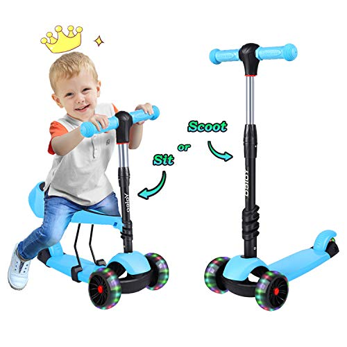 Yoleo Kids Scooter, 3 in 1 Flashing Wheels Kick Scooters for Kids with...
