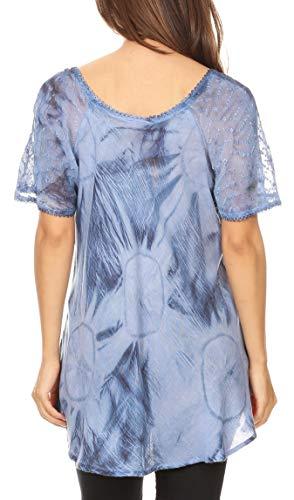Peasant Bleu Hana Blouse mancherons Sakkas Broderie Dye Fit Batik Relaxed Top Tie TPgSqn0