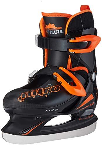 Lake Placid Boys Nitro 8.8 Adjustable Figure Ice Skate, Black/Orange, Small - 3.0 Skates Ice Hockey