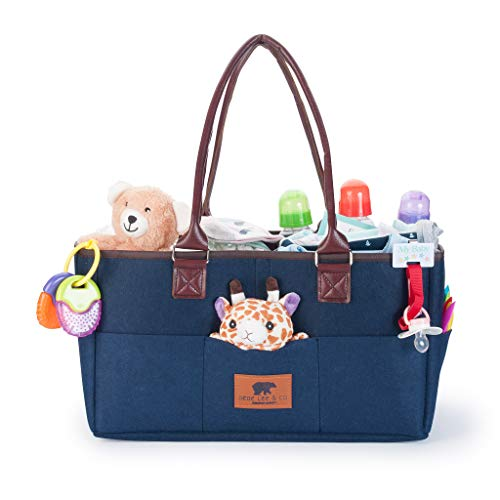 Baby Diaper Caddy Organizer - Extra Large Car Caddy Diaper Organizers Navy Blue | Comes w Leather Handles for Heavy Storage | For Baby Registry, Nursery Essentials, Changing Clothes, Travel Bin