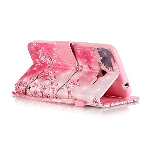 Funda Samsung Galaxy J3 / J310, Flor de cristal Funda Libro de Cuero Flip Cover con TPU Case Interna Para Samsung Galaxy J3 / J310, Wallet Case con Soporte Plegable, Ranuras para Tarjetas y Billete Cerezo