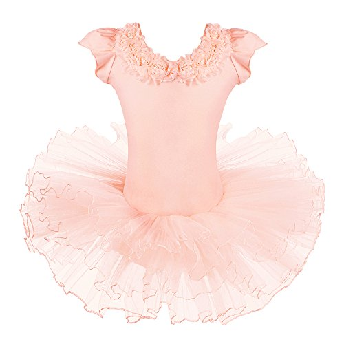 BAOHULU Leotard for Girls Ballet Dance Short Sleeve Full TulleTutu Skirted Dress Ballerina Costumes (4-5 Years(Tag No.L), Flower Collar) -