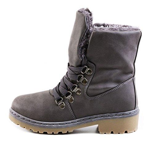 Damen Winter Schnür Boots Schuhe Stiefel mit Kunstfell in Lederoptik warm gefüttert Grau gefüttert