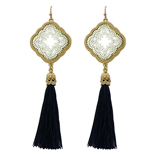 Rosemarie Collections Women's Modern Design Thread Tassel Drop Moroccan Style Earrings (Navy Blue and Silver)