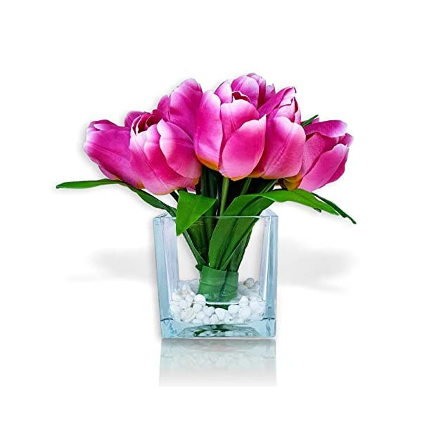 Basik Nature Artificial Tulip Floral Arrangement in Glass Vase – Tulips Artificial Silk Flowers for Decoration (Pink)