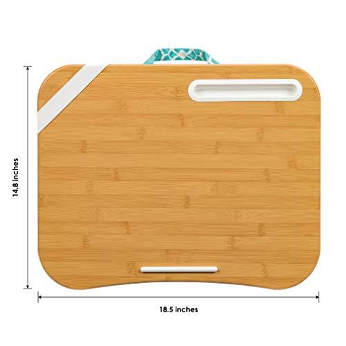 LapGear Designer Lap Desk with phone holder – Aqua Trellis – Fits up to 17.3 Inch laptops – Style No. 45512