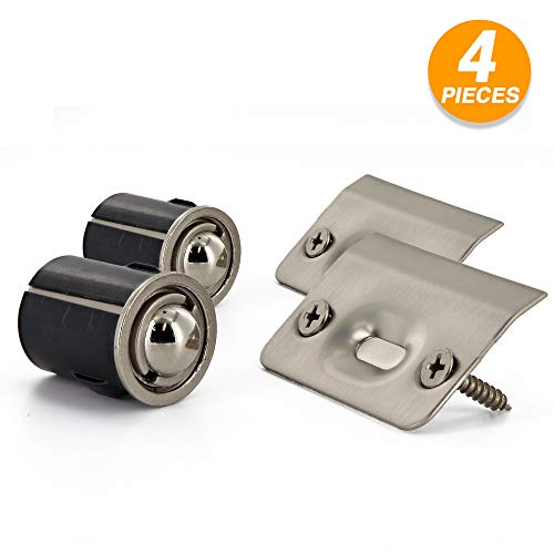 (Ram-Pro Closet Door Ball Catch Drive in Ball Catch with Strike Plate Adjustable Spring Ball for Wood and Metal Closet Cabinet Door Latch Invisible Cupboard Closure Pack of 2)