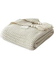 UnvfRg Nordic handgemaakte gebreide deken, modieuze sprei voor bank, bed en als deken