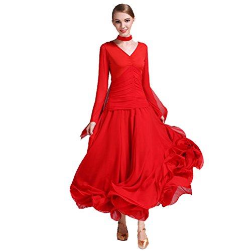 [Women Ultra-fine Milk Silk Flying Yarn Fishbone Hemline Spanish Dance Costume Flamenco Ballroom Waltz Standard Dance Dresses (XXL, Red)] (Spanish Dancing Costumes For Women)